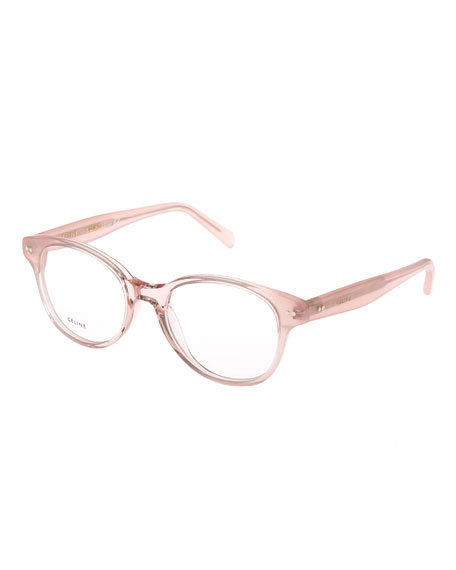 Celine Round Acetate Optical Frames, Pink
