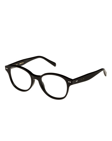 Round Acetate Optical Frames, Black
