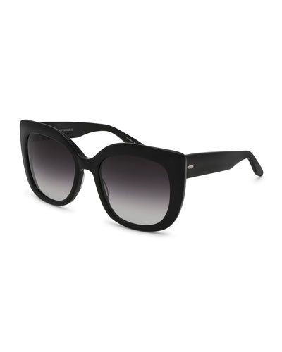 Olina Gradient Chunky Cat-Eye Sunglasses, Black/Smolder