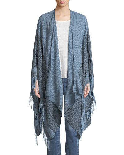 Reclaimed Cotton Twill Striped Open Poncho