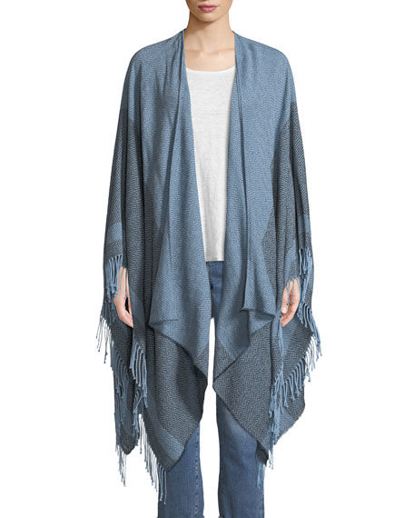 Eileen Fisher Reclaimed Cotton Twill Striped Open Poncho