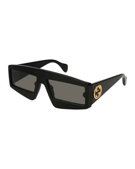 Gucci Exaggerated Rectangle Acetate Sunglasses
