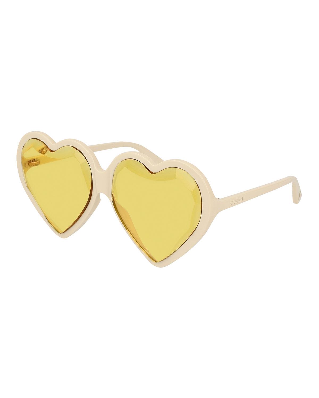 2d33a241aa0e8 Gucci Forever Hollywood Heart-Shaped Acetate Sunglasses