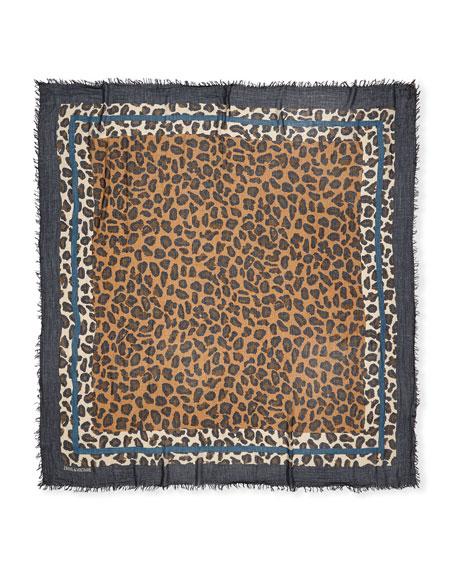 Delta Framed Leopard Square Scarf