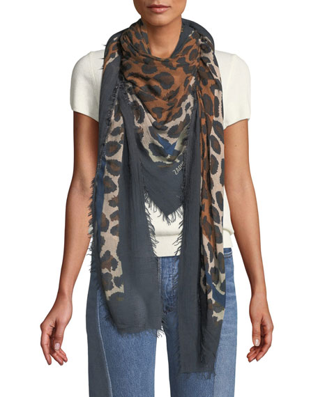 Zadig & Voltaire Delta Framed Leopard Square Scarf