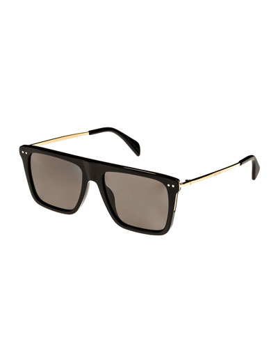 Bold Rectangular Acetate/Metal Polarized Sunglasses