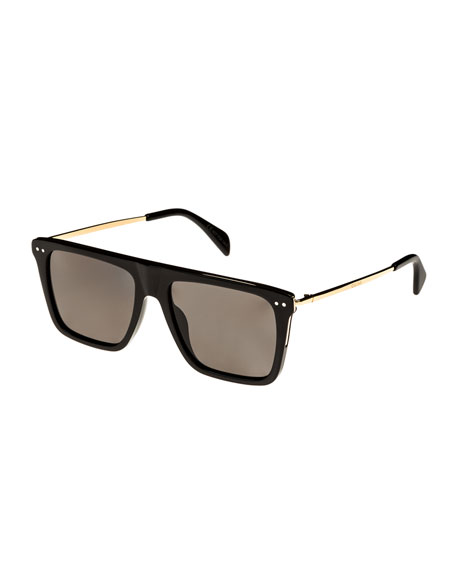 Bold Rectangular Acetate/Metal Polarized Sunglasses