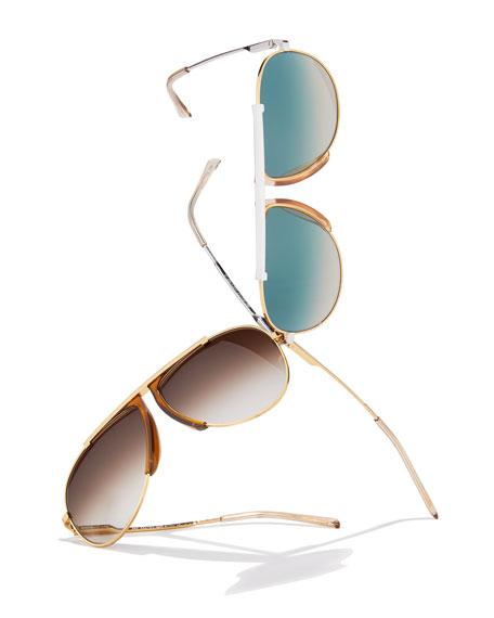 Metal/Acetate Pilot Sunglasses