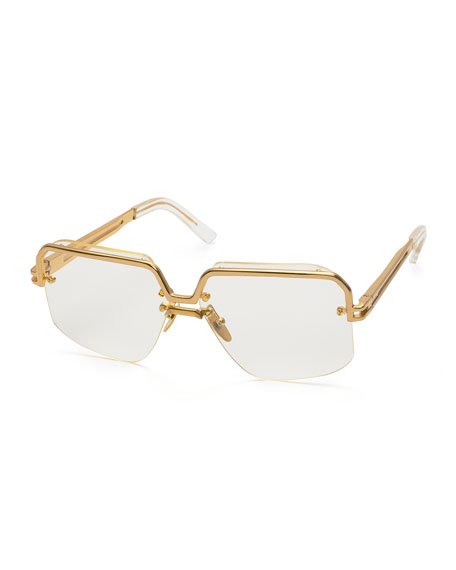 Rectangle Semi-Rimless Metal Sunglasses