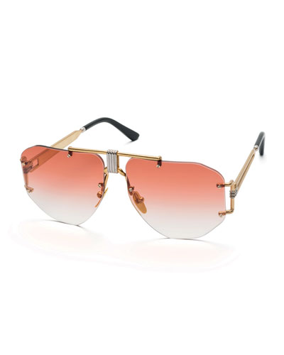 Rimless Gradient Aviator Sunglasses