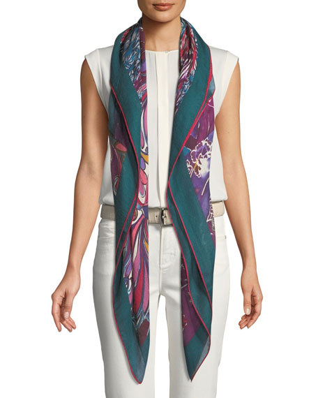 Royal Garden Maxi Carre Scarf