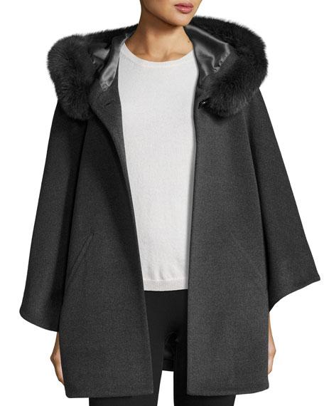 Fur-Trim Hooded Capelet