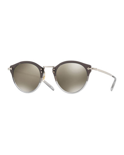 Two-Tone Round Photochromic Sunglasses