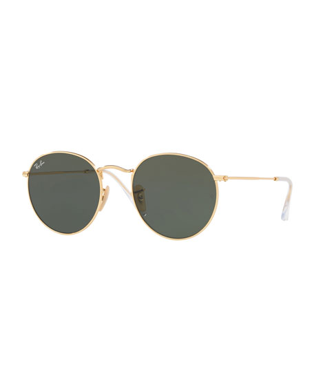 Monochromatic Round Metal Sunglasses, Green Pattern