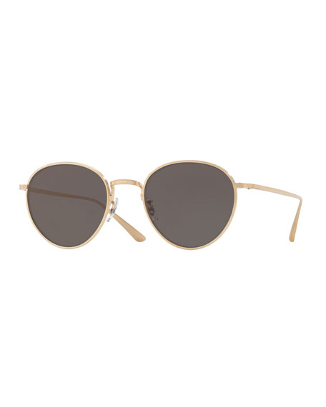 Oliver Peoples Brownstone Round Titanium Sunglasses