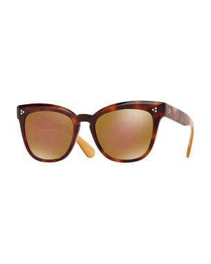 67ab9522c40 Oliver Peoples Marianela Rounded Plastic Mirrored Sunglasses