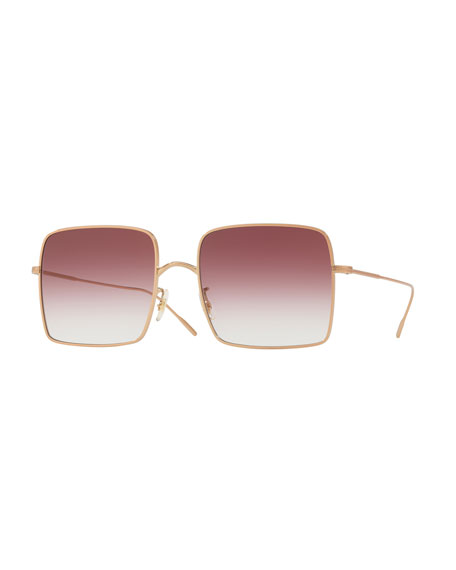 Oliver Peoples Rassine Square Gradient Sunglasses, Rose Gold