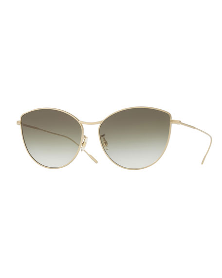Rayette Vintage-Inspired Metal Cat-Eye Sunglasses, Gold