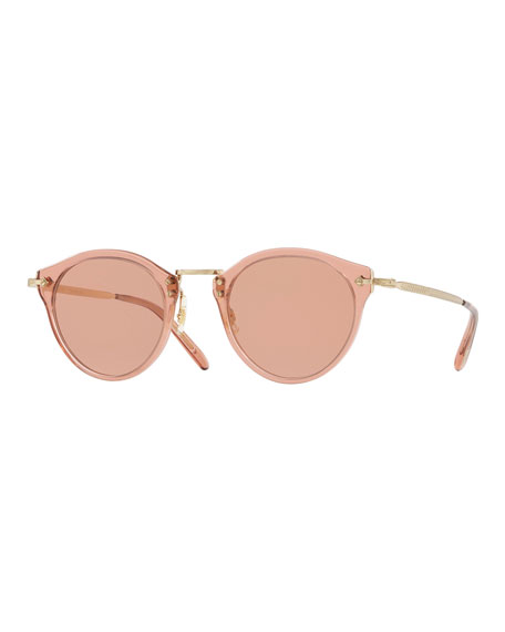 Oliver Peoples Acetate & Metal Round Photochromic Sunglasses