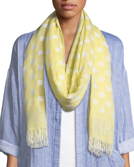 Eileen Fisher Polka Dot Cotton-Blend Scarf