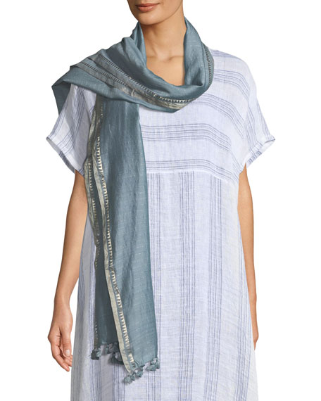 Hand-Loomed Silk Zari Striped Scarf