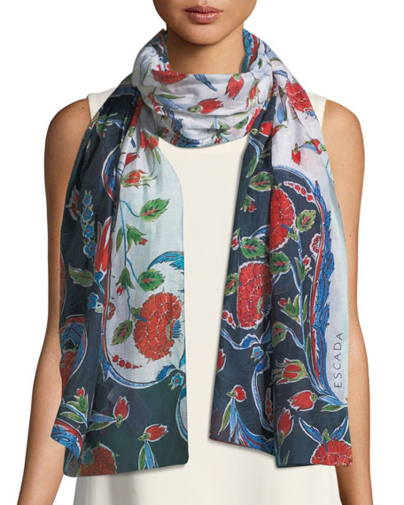 Pottery Floral-Print Cotton-Silk Scarf