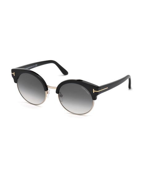 Alissa Semi-Rimless Round Sunglasses