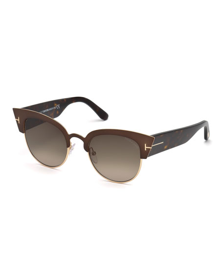 TOM FORD Alexandra Semi-Rimless Rectangle Sunglasses