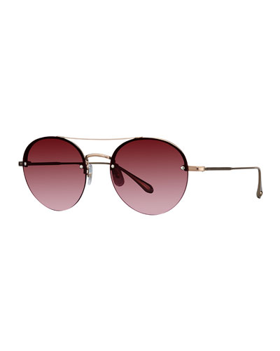 Beaumont Semi-Rimless Round Sunglasses