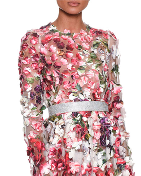 Dolce & Gabbana Long-Sleeve Embroidered Rose Peony Petals
