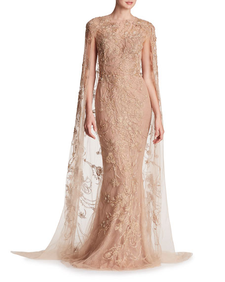 Marchesa Metallic-Embroidered Floor-Length Cape and Matching