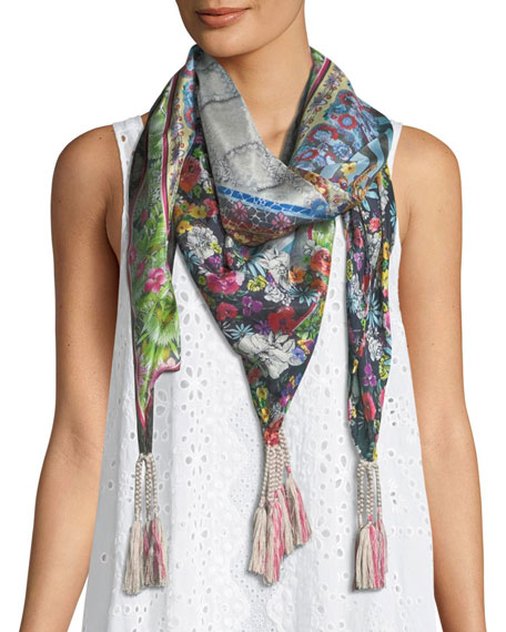 Johnny Was Invita Tassel-Trim Floral-Print Scarf