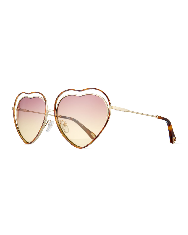 d5ee14e14e Chloe Poppy Love Heart-Shaped Sunglasses