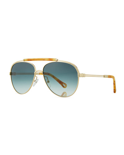 Jackie Aviator Sunglasses w/ Ornamental Brow Bar