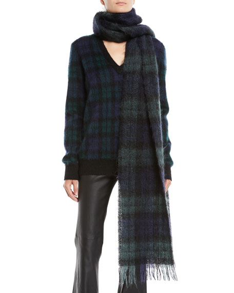 Oversized Tartan Wool Scarf w/ Fringe Edges