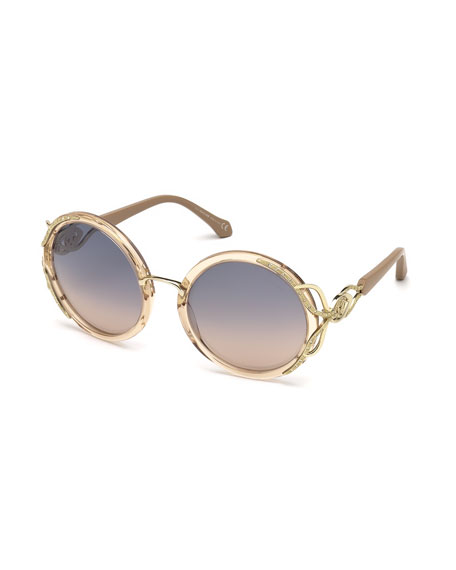 Roberto Cavalli Round Semi-Transparent Acetate Sunglasses