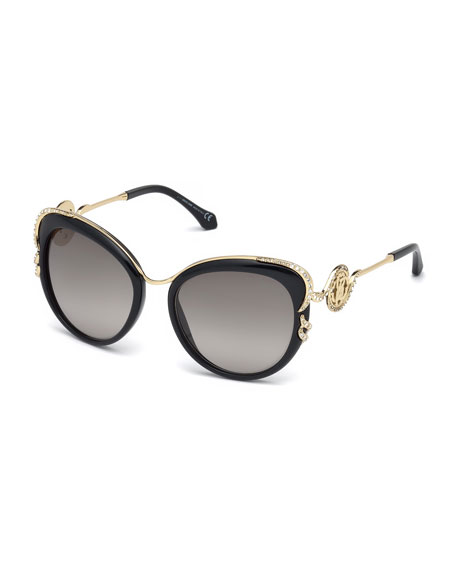 Roberto Cavalli Square Acetate & Metal Crystal-Trim Sunglasses