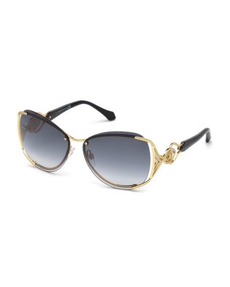 Semi-Rimless Square Gradient Sunglasses