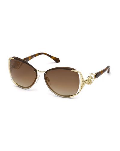 Semi-Rimless Square Mirrored Sunglasses
