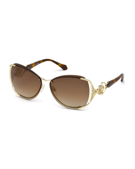 Semi-Rimless Square Mirrored Sunglasses