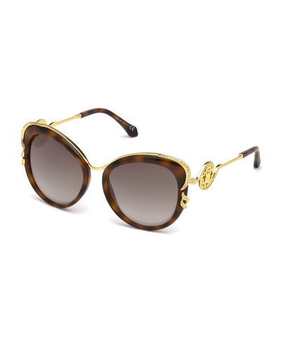 Square Acetate & Metal Crystal-Trim Mirrored Sunglasses