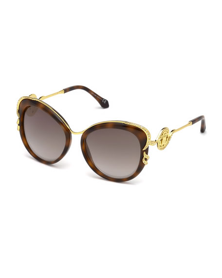 Roberto Cavalli Square Acetate & Metal Crystal-Trim Mirrored