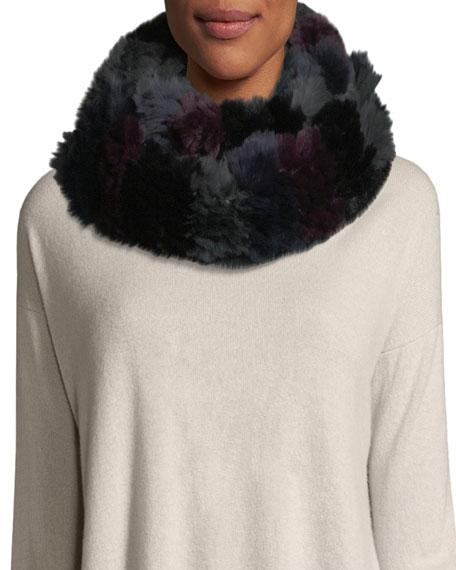 Jocelyn Horizontal Stripe Knitted Fur Infinity Scarf