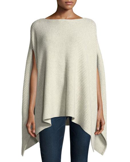 Shaker-Stitched Metallic Cashmere-Blend Poncho Sweater