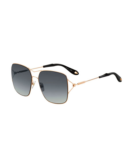 Givenchy Metal Double-Wire Square Sunglasses