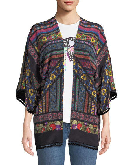 Kesa Multi-Ribbon Print Cardigan w/ Tassel Trim