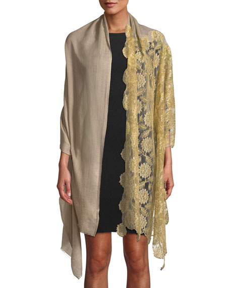 Lace-Trim Wool-Silk Scarf