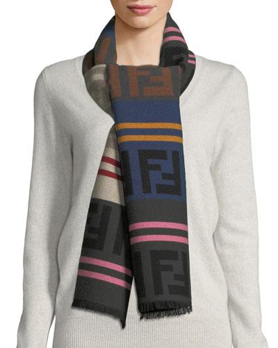 Macro FF Colorblock Wool-Blend Scarf