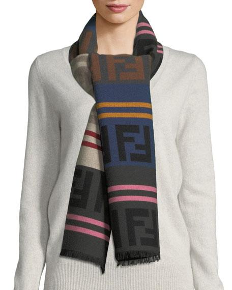 Fendi Macro FF Colorblock Wool-Blend Scarf
