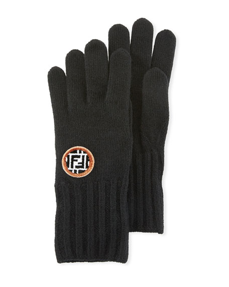 Fendi Wool/Cashmere FF Knit Gloves